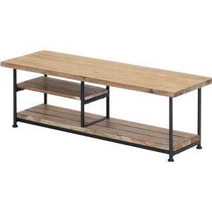 テレビ台/テレビボード 【幅120cm】 木製/杉古材 スチール 『JOKER』 木目調 収納棚付き