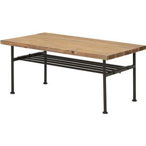 センターテーブル(ローテーブル/リビングテーブル) JOKER 幅90cm 木製/杉古材×スチール 収納棚付き 木目調 - 拡大画像
