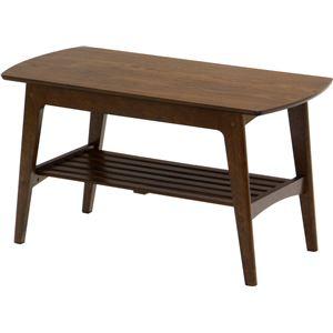 センターテーブル/リビングテーブル ロージー 【幅90cm】 木製 収納棚付き 木目調