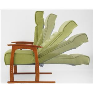14段階リクライニングチェア(コイルバネ高座椅子) 肘付き 高さ調節可 ポケットコイル入り座面 若葉 グリーン(緑)