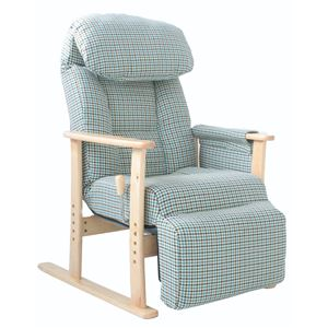 リクライニングチェア(高座椅子) 梢 フットレスト/肘付き 無段階ガス式 BL ブルー(青) - 拡大画像