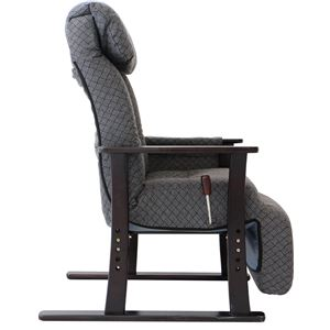 リクライニングチェア(高座椅子) 梢 フットレスト/肘付き 無段階ガス式 GY グレー(灰)
