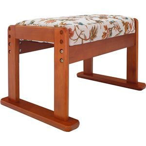 オットマン/スツール 【高座椅子対応】 木製×合成皮革(合皮) 高さ3段階調節可 ベージュフラワー - 拡大画像