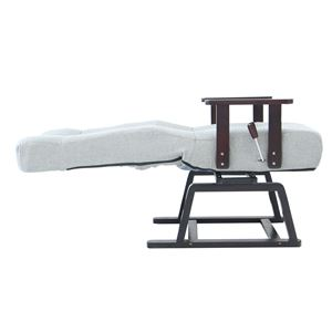 回転式高座椅子/リクライニングチェア 晶 肘付き コイルバネ GY グレー(灰)