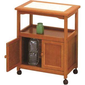 キャビネットワゴン(キッチン収納/キッチンワゴン) 木製 幅58cm 扉収納/キャスター付き タイル天板 ハニー
