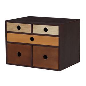 小物チェスト/収納ケース 【3段 5杯 幅35cm】 ブラウン×ブラック 桐材 木製 【完成品】 〔デスク オフィス〕 - 拡大画像