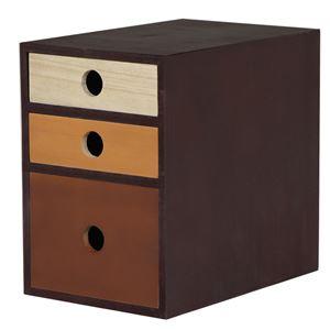 小物チェスト/収納ケース 【3段 3杯 幅18cm】 ブラウン×ブラック 桐材 木製 【完成品】 〔デスク オフィス〕 - 拡大画像