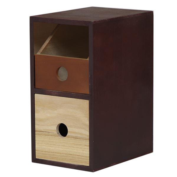 小物チェスト/収納ケース 【1段 2杯 幅27cm】 ブラウン×ブラック 桐材 木製 【完成品】 〔デスク オフィス〕