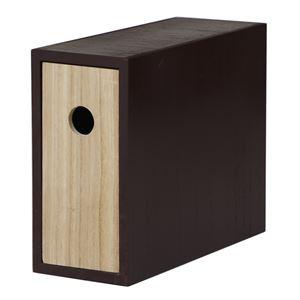 デスクオーガナイザー/収納ケース 【1段 ブラウン×ブラック】 幅10cm 桐材 木製 【完成品】 〔デスク オフィス〕 - 拡大画像