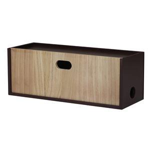 ストレージボックス/収納ケース 【電源タップ用 ブラウン×ブラック】 幅40cm 桐材 木製 【完成品】 〔デスク オフィス〕 - 拡大画像