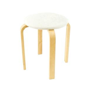 スタッキングスツール/丸椅子 【同色5脚セット】 座面:合成皮革(合皮) 木製脚 アイボリー 【完成品】 - 拡大画像