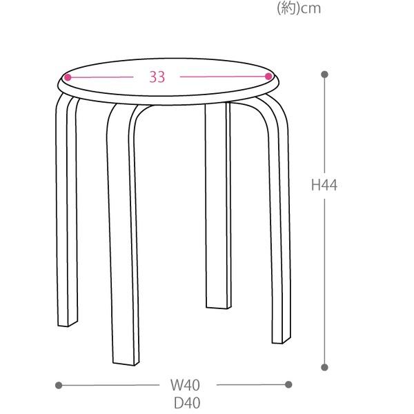スタッキングスツール/丸椅子 【同色5脚セット】 座面:合成皮革(合皮) 木製脚 アイボリー 【完成品】のサイズ