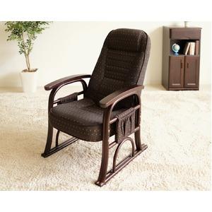 漣-さざなみ- ラタン高座椅子 リクライニングチェア ブラウン - 拡大画像