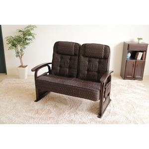 漣-さざなみ- ラタン2人掛け高座椅子 リクライニングチェア ブラウン - 拡大画像