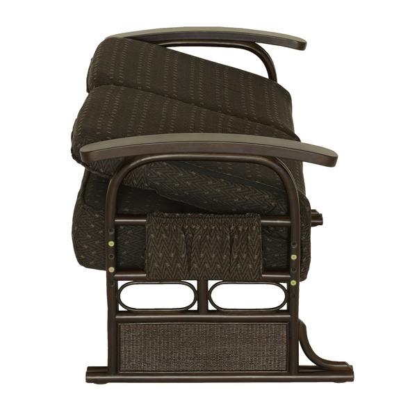 漣-さざなみ- ラタン2人掛け高座椅子 リクライニングチェア ブラウン