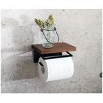 トイレットペーパーホルダー/トイレ用品 【1連】 幅16cm 木製×スチール 『SIGNO シグノ』 【完成品】