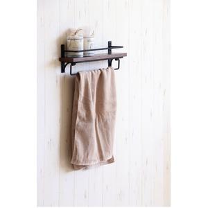 スタイリッシュ タオル掛けハンガー/トイレ用品 【幅36cm】 木製×スチール 『SIGNO シグノ』 【完成品】 - 拡大画像