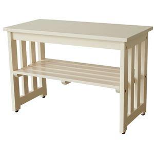 シンプル 玄関ベンチ/腰掛け椅子 【ホワイト】 幅60cm 木製 収納棚付き