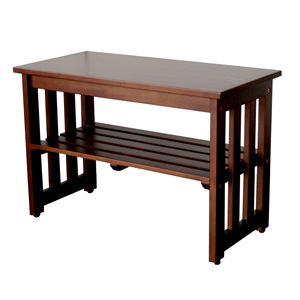 シンプル 玄関ベンチ/腰掛け椅子 【ブラウン】 幅60cm 木製 収納棚付き