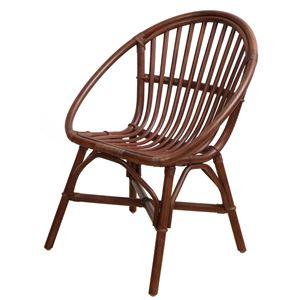 アジアンテイスト ラタンチェア/籐椅子 【ブラウン】 座面高43cm 木製 【完成品】 - 拡大画像