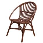 アジアンテイスト ラタンチェア/籐椅子 【ブラウン】 座面高43cm 木製 【完成品】