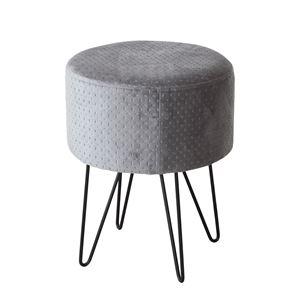 モダン 円形スツール 腰掛け椅子 【グレー】 直径35cm スチール脚 【完成品】 - 拡大画像