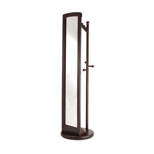 ミラー付き回転ハンガーラック/全身姿見鏡 【ダークブラウン】 高さ171cm 木製