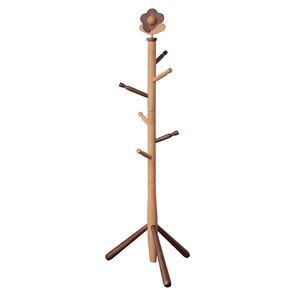 キッズポールハンガー/コートハンガー 【ハナ】 高さ124cm 木製 ナチュラルブラウン 〔子供部屋家具 キッズ家具 什器〕 - 拡大画像