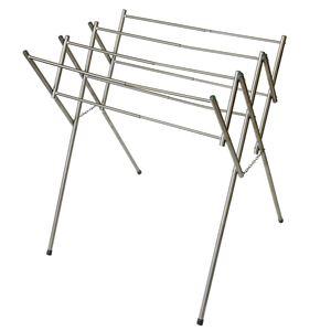 折りたたみタオル干しハンガー(物干しスタンド/洗濯物干し) ステンレス製 幅45〜77cm 大判 伸縮 - 拡大画像
