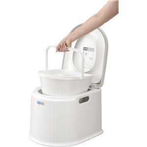ポータブルトイレ/簡易トイレ 【P型】 液ダレ防止付きポット 日本製 〔携帯トイレ 介護用品 防災 非常用〕 - 拡大画像