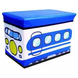 座れる収納ボックス/オットマン 【シンカンセン】 幅48cm クッション座面 〔子供部屋収納 おもちゃ箱 ストレージ〕