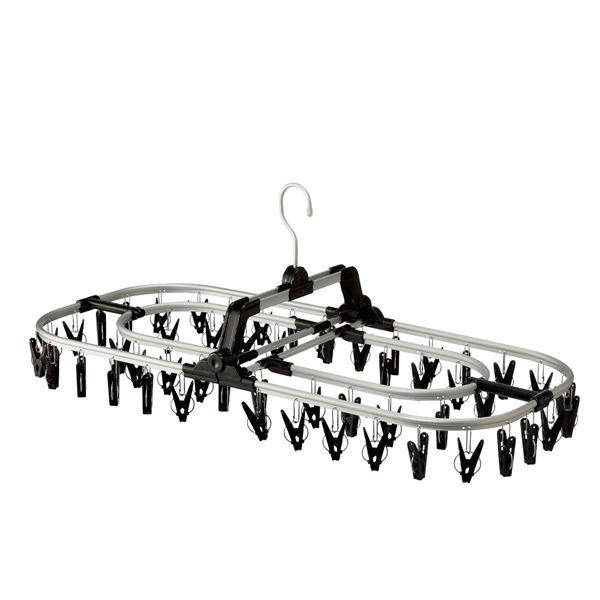 ワイド洗濯ハンガー(ピンチハンガー/洗濯物干し) 52ピンチ アルミフレーム 二重構造 ピンチマーク付き ブラック