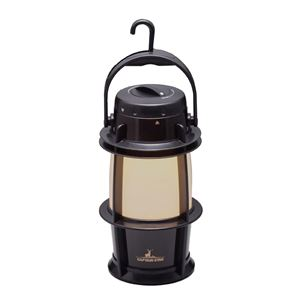 電池式LEDランタン(LEDランプ/照明器具) 無段階調光 吊り下げフック付き メタルブラック 『キャプテンスタッグ/CAPTAIN STAG』