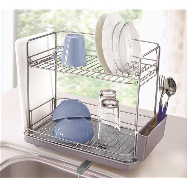 スリム水切りかご(水切りラック/キッチン用具) 2段 【縦横兼用】 水が流れるトレー付き SV(シルバー)
