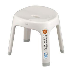 バスチェア(風呂椅子/腰掛け) ホワイト 座面高30cm 銀イオン配合 背もたれサポート付き 『Emeal』 - 拡大画像