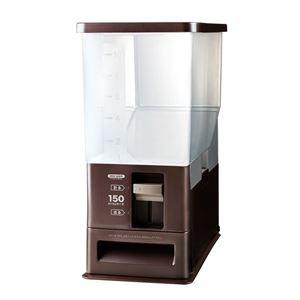 計量米びつ/ライスストッカー 【12kg型 ブラウン】 計量単位(約):1合 プラスチック製 洗える - 拡大画像