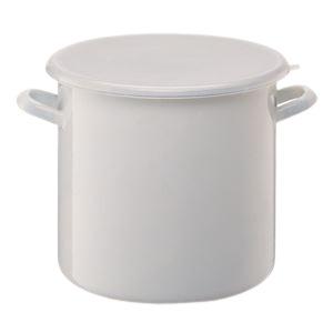 ホーロー製ストックポット/保存容器 【内寸直径:20cm/6L】 シールフタ付き 〔漬物づくり 食品保存〕 - 拡大画像