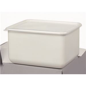 ホーロー製ストックポット/保存容器 【角型M/4L】 22.8×18.8×高さ13.2cm シールフタ付き 〔漬物づくり 食品保存〕 - 拡大画像