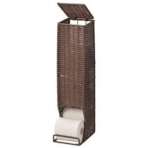 トイレットペーパーホルダー/トイレットペーパー収納 【ブラウン】 幅13.5×奥行18.5×高さ56cm