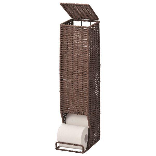 和風(アジアン)な「トイレットペーパーホルダー/トイレットペーパー収納 【ブラウン】 幅13.5×奥行18.5×高さ56cm」