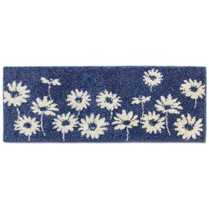 花柄 キッチンマット/フロアマット 【45×120cm ネイビー】 洗える 裏面すべり止め加工 日本製 『リーブル』