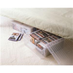 フタ付き 収納ボックス/プラスチックケース 【DVD等】 仕切り板・キャスター付き 『いれと庫ワイド』 - 拡大画像