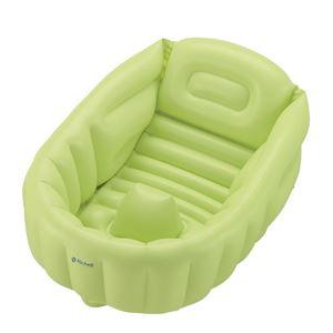 ふかふか ベビーバスW/ベビー用品 【グリーン】 新生児〜3ヶ月頃まで 空気漏れ対策版 ビニールタイプ - 拡大画像