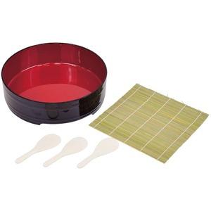 漆器 手巻き・ちらし寿司 【5点セット】 飯台・ミニすしべら・巻きすだれ 大容量 コンパクトサイズ