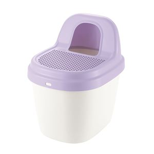 砂取り 猫トイレ/猫用品 【パープル】 スコップ付き 箱型 日本製 『コロル』 - 拡大画像