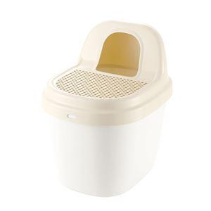 砂取り 猫トイレ/猫用品 【ベージュ】 スコップ付き 箱型 日本製 『コロル』 - 拡大画像