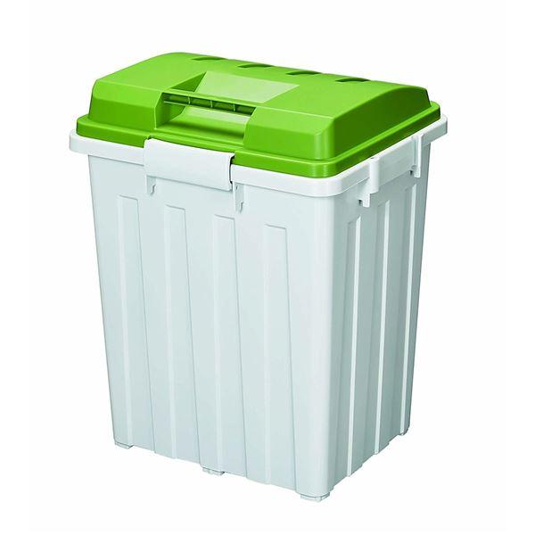連結ハンドルペール/フタ付きゴミ箱 【グリーン】 76L 角型 大型 70型 分別 ハンドル付き 日本製