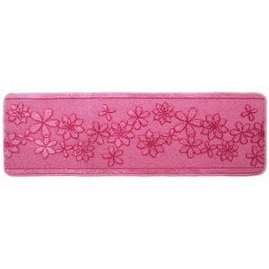 キッチンマット/フロアマット 【60×180cm ピンク】 洗える 裏面すべり止め加工 『ベルラ』