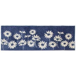 花柄 キッチンマット/フロアマット 【60×180cm ネイビー】 洗える 裏面すべり止め加工 日本製 『リーブル』