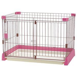 お掃除簡単 ペットサークル/ペット用品 【ピンク】 90-60 プラスチック製トレー